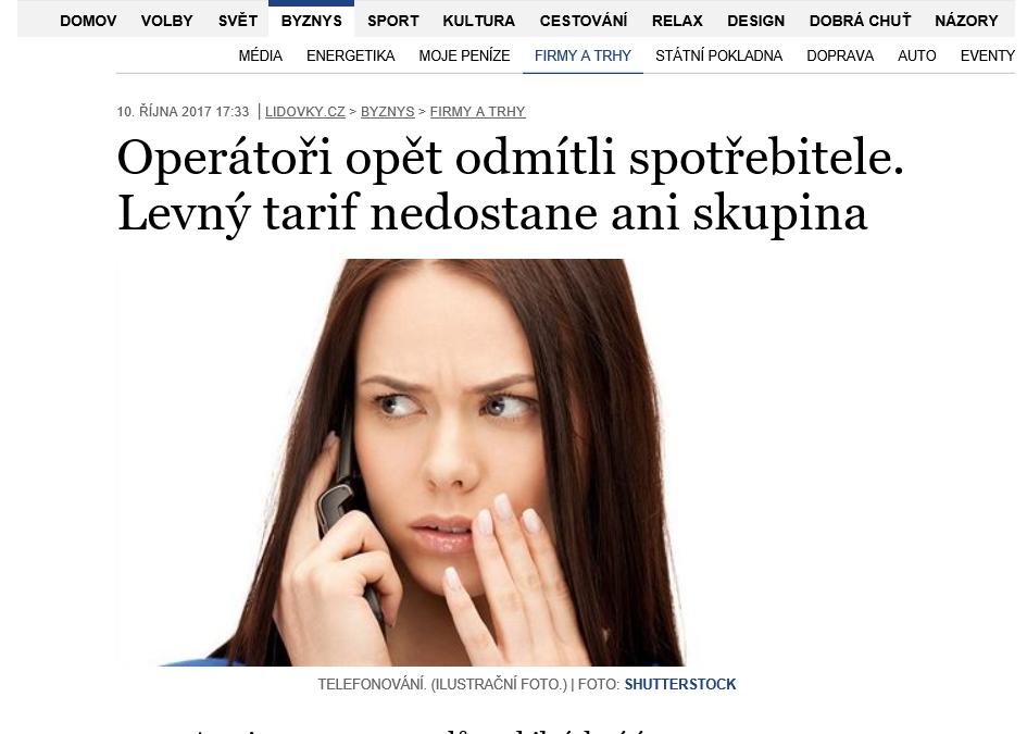 Z MÉDIÍ: Operátoři opět odmítli spotřebitele (Zdroj: Lidovky.cz)