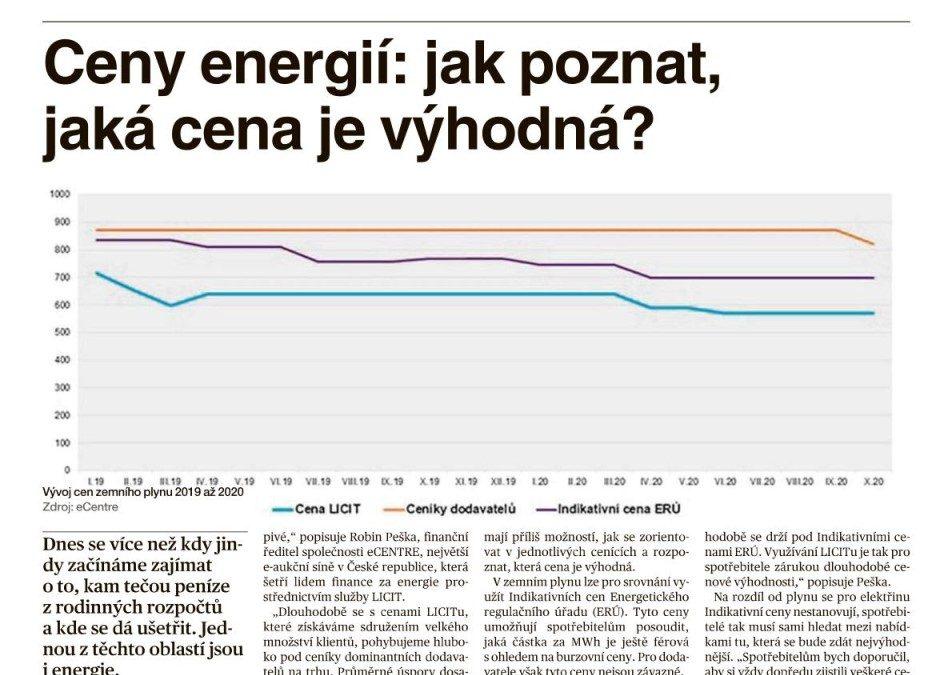 Z MÉDIÍ: JAKÁ CENA ENERGIÍ JE VÝHODNÁ? (ZDROJ: MF DNES – Energie+)